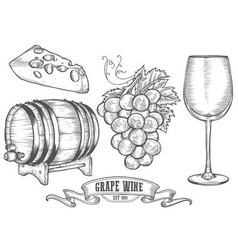 Hand Drawn Wine and Cheese Icon Drawings vector image vector image