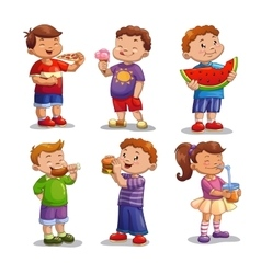 Kids with food and drink vector image