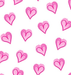 Pink love hearts in a seamless pattern vector image vector image