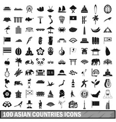 100 asian icons set in simple style vector image