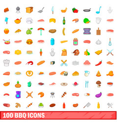 100 barbecue icons set cartoon style vector