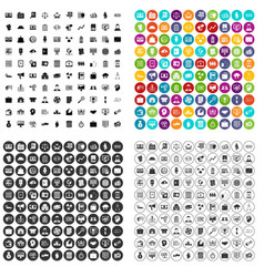 100 financial resources icons set variant vector