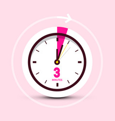 3 three minutes clock icon on pink background vector image