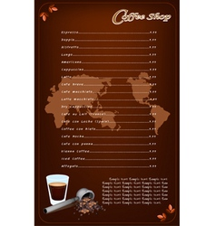 A Coffee Menu Template for Cafe and Coffeehouse vector