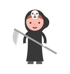 Angel of death children in halloween costume flat vector
