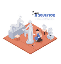 artist sculptor isometric vector image