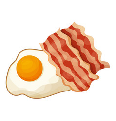 bacon and egg icon cartoon style vector image