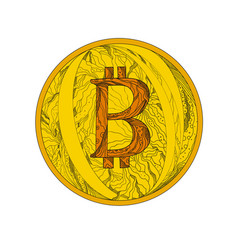 Bitcoin doodle art vector