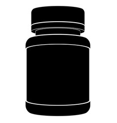 Black silhouette of a plastic jar for medicines vector