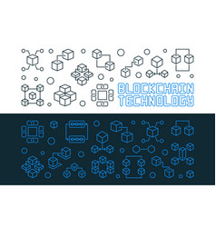 blockchain technology line horizontal vector image