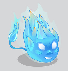 Blue fiery demon in cartoon style vector