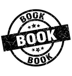 Book round grunge black stamp vector