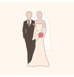 bride and groom pastel silhouettes vector image