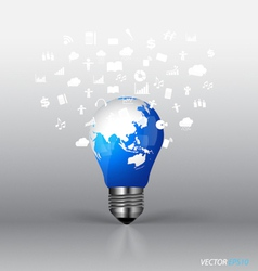 Bulb with cloud of application vector