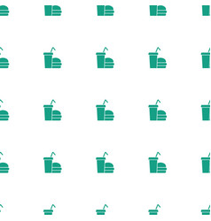 burger and drink icon pattern seamless white vector image