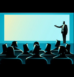 Businessman giving a presentation on big screen vector