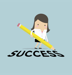 Businesswoman with pencil writing success vector