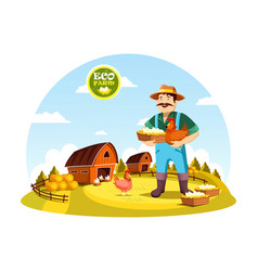 Cartoon farmer man holding eggs and hen vector