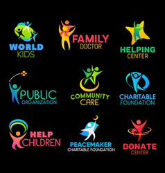 Charity foundation icons with peoples and hands vector