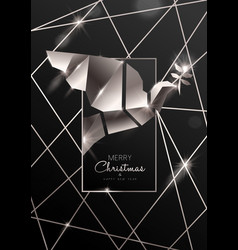 christmas and new year card luxury silver dove vector image