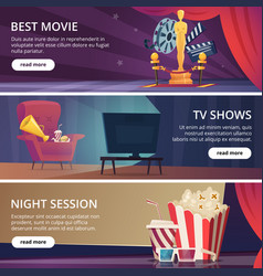 cinema banners movie video and theater vector image