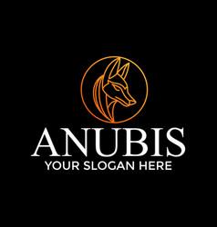 Circle gold anubis logo design idea vector