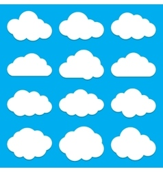 Cloud Shapes collection Set of Flat Cloud Icons vector