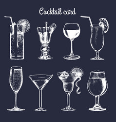 cocktail card hand sketched alcoholic beverages vector image