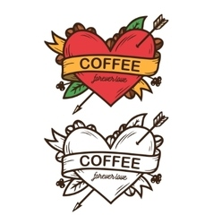 Coffee forever love hand drawn poster vector image