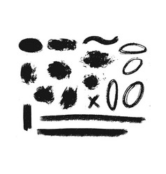 collection of ink grunge dirty brush vector image