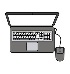 color graphic top view laptop computer with mouse vector image