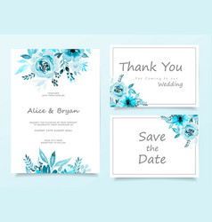 Colorful greeting wedding invitation card set vector
