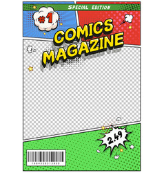 Comic book cover comics magazine title page vector