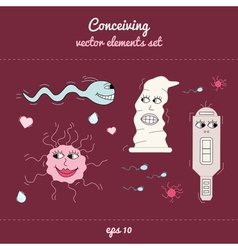 Concieving contraception and impregnation elements vector image