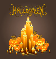 Cover halloween pumpkin and candles vector