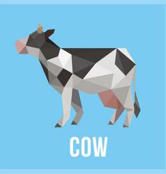 Cow animal farm with polygonal geometric style vector