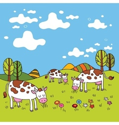 cows in a field vector image