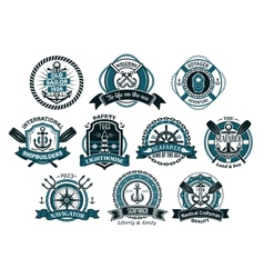 Creative seafarers or nautical logos and banners vector