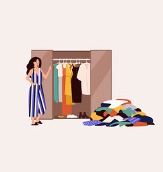 Cute girl standing in front opened wardrobe vector