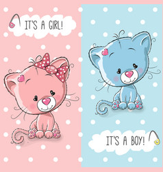 Cute kittens boy and girl vector