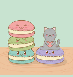 Cute little cat with sweet donut kawaii character vector