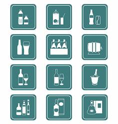 drinks icons teal series vector image vector image