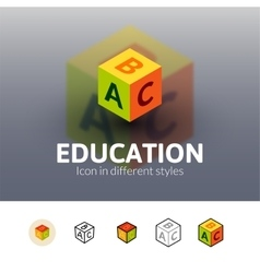Education icon in different style vector image