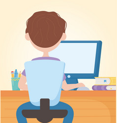 Education online student boy sitting studying with vector