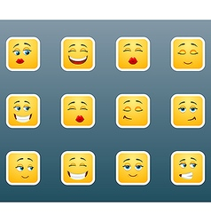 Emoticon smile stickers set vector image
