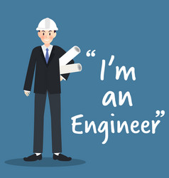 Engineer character with architectural project on vector