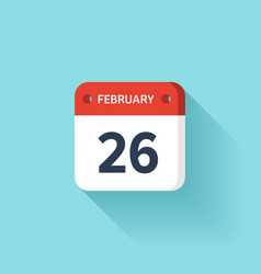 February 26 Isometric Calendar Icon With Shadow vector