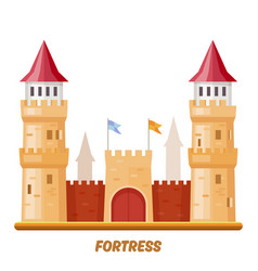 fortress castle medieval palace with fort towers vector image