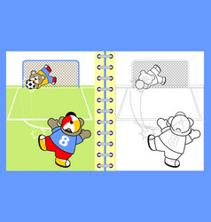 funny animals cartoon playing soccer vector image