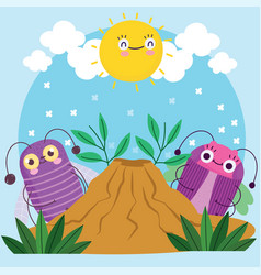 Funny bugs creature little animals with anthill vector